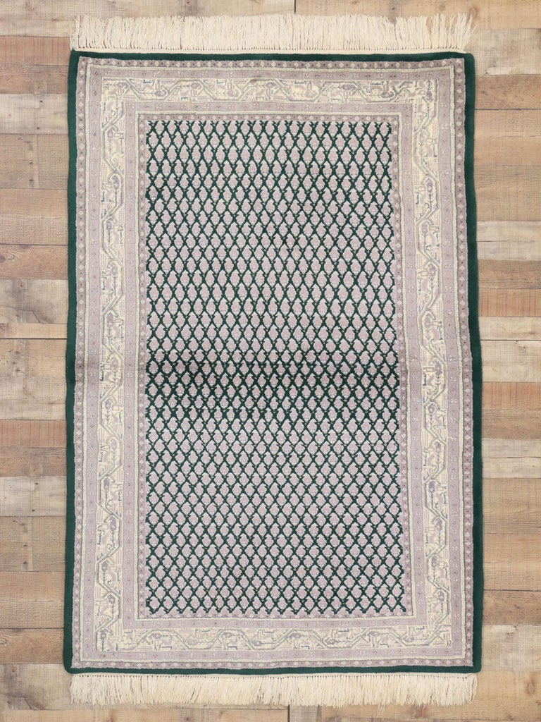 Hand-Knotted Vintage Indian Area Rug with Traditional Modern Style For Sale