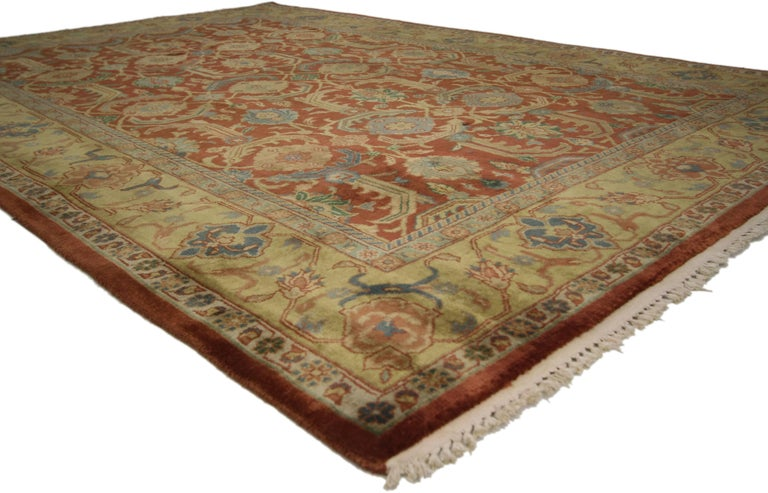 Modern Vintage Indian Area Rug with Traditional Persian Style For Sale