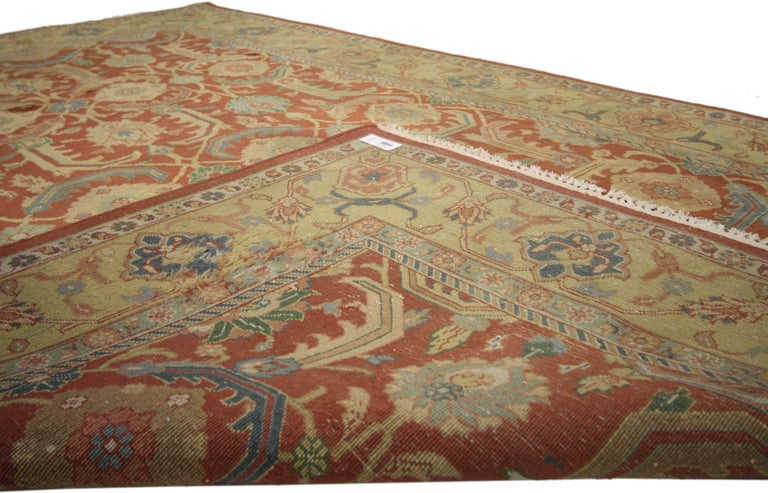 Hand-Knotted Vintage Indian Area Rug with Traditional Persian Style For Sale
