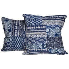 Vintage Indian Batik Kantha Indigo Patchwork with Irish Linen Cushion Pillow