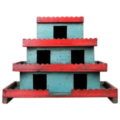 Vintage Indian Blue and Red Wooden Model House, 20th Century