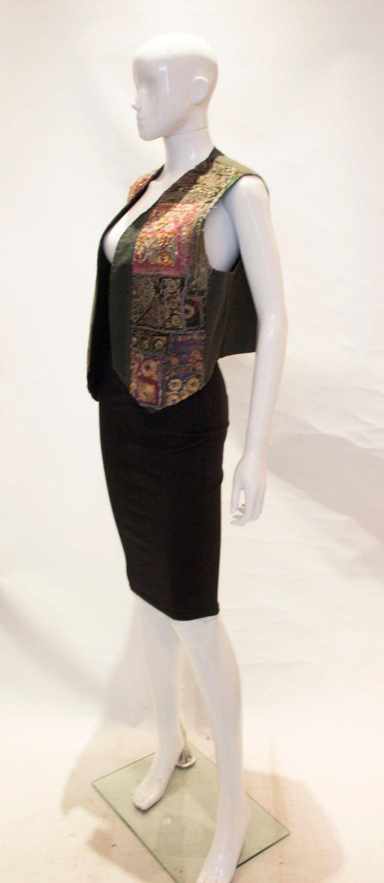 Brown Vintage Indian Boho Waistcoat For Sale