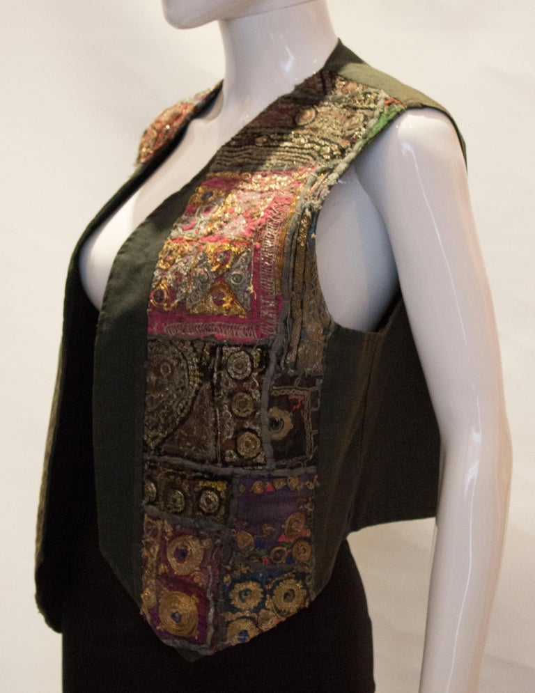 Vintage Indian Boho Waistcoat In Good Condition For Sale In London, GB