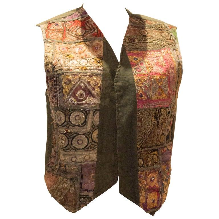 Vintage Indian Boho Waistcoat For Sale