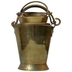 Vintage Indian Brass Buckets, Planters, Barware, 1960s, Set of 4