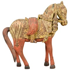 Vintage Indian Carved Wooden Horse from Madras with Yellow and Red Patina