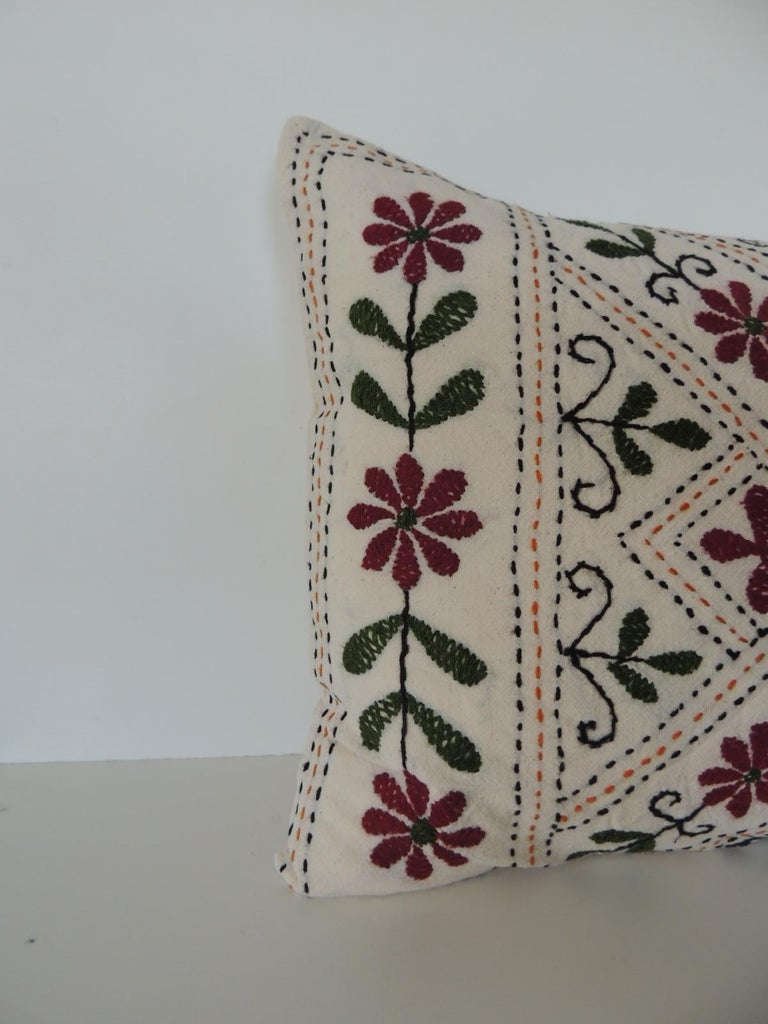 Vintage Indian colorful floral embroidered decorative bolster pillow. Green and red hand embroidered pillow. Same linen backing. Depicting peacocks. Decorative pillow handcrafted and designed in the USA. Closure by stitch (no zipper closure)