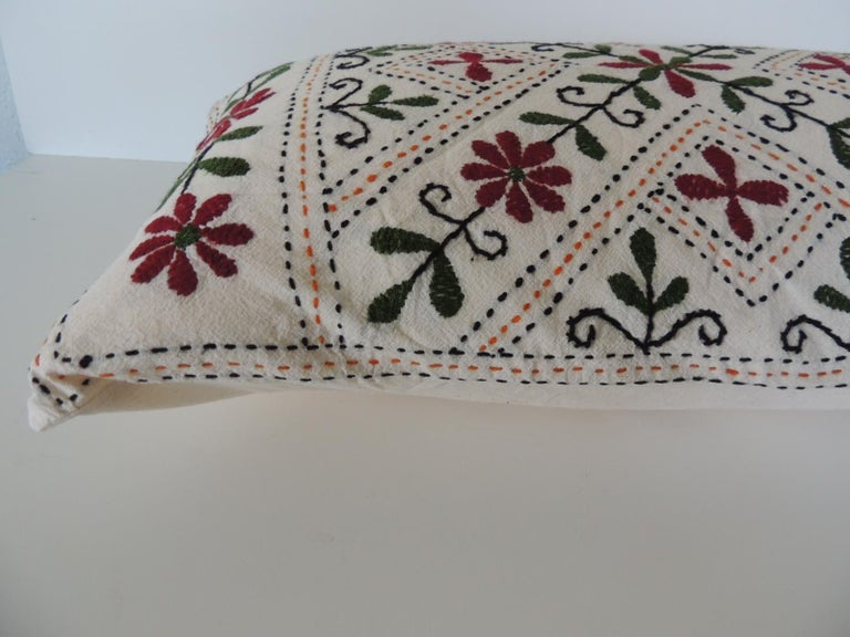Moorish Vintage Indian Colorful Floral Embroidered Decorative Bolster Pillow For Sale
