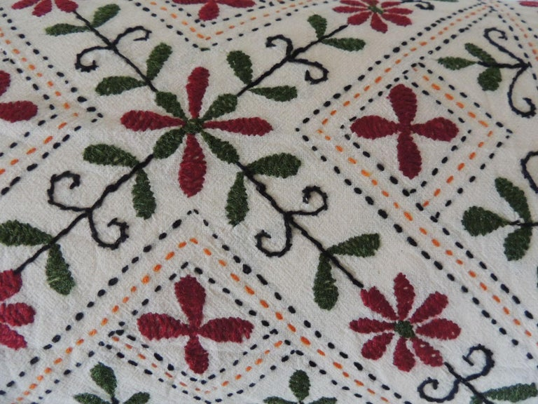 Hand-Crafted Vintage Indian Colorful Floral Embroidered Decorative Bolster Pillow For Sale