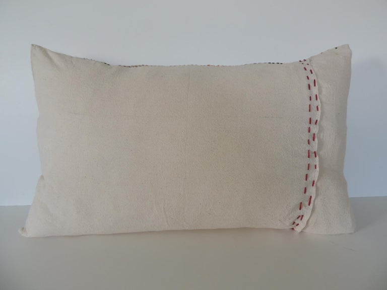Late 20th Century Vintage Indian Colorful Floral Embroidered Decorative Bolster Pillow For Sale
