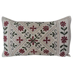 Vintage Indian Colorful Floral Embroidered Decorative Bolster Pillow