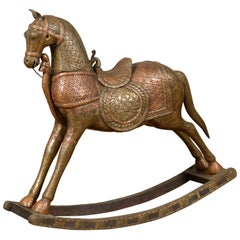 Vintage Indian Copper Over Wood Rocking Horse from Madras with Intricate Motifs