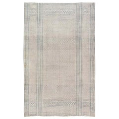 Vintage Indian Cotton Rug in Blue and Ivory
