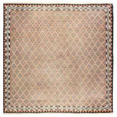 Vintage Indian Dhurrie Ivory, Light Brown and Blue Cotton Rug