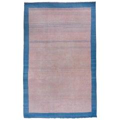 Vintage Indian Dhurrie Large Rug, Pink Open Field, Royal Blue Border, Circa 1960