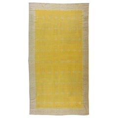 Vintage Indian Dhurrie Yellow Flat-Woven Cotton Rug
