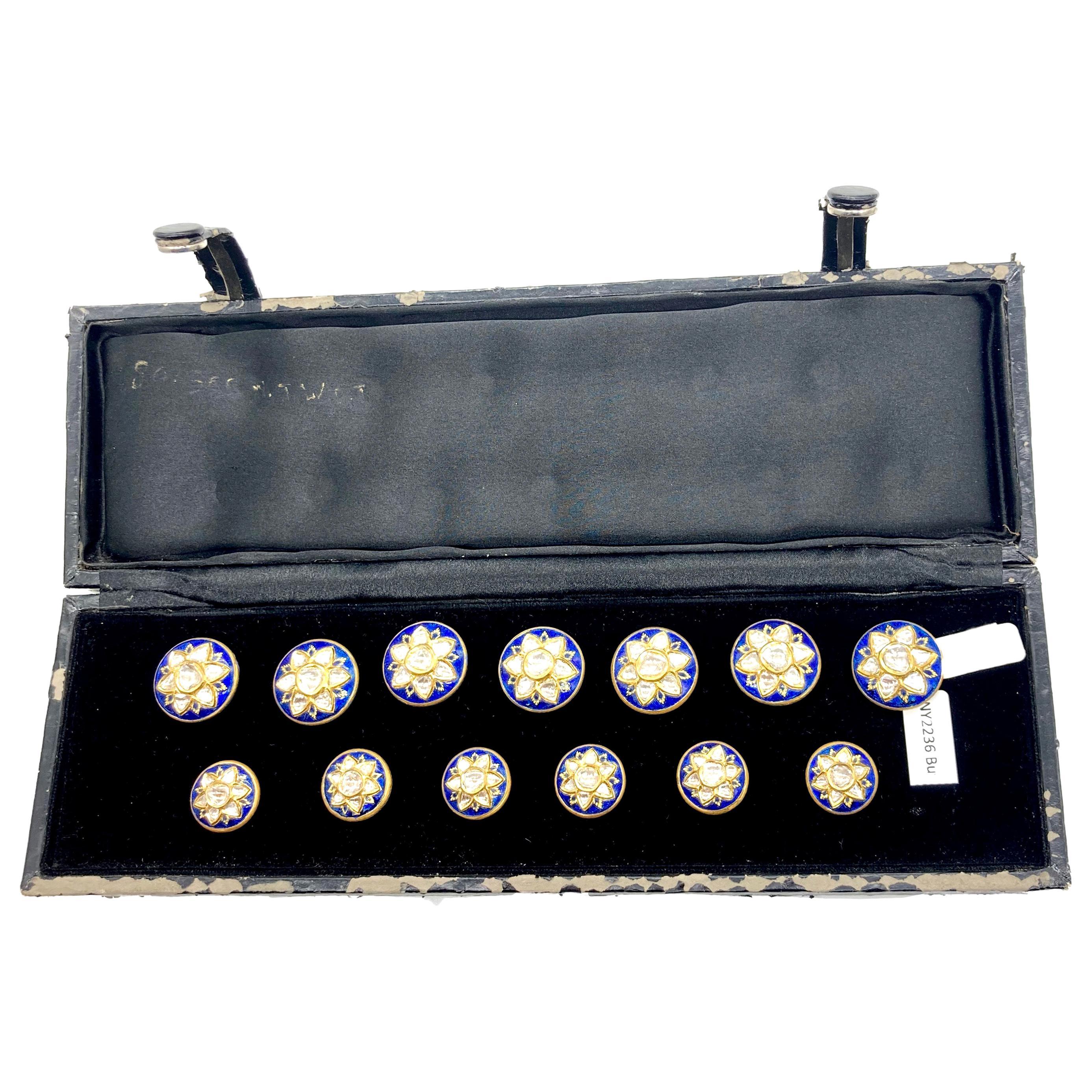 Vintage Indian Diamond Enamel Polki Sherwani Buttons Set