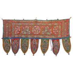 Vintage Indian Embroidered Toran with Mirror-Work