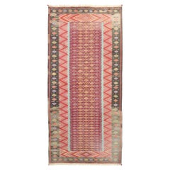 Vintage Indian Flat-Weave Dhurrie Room Size Kilim Rug with Southwestern Style