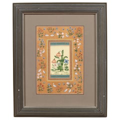 Vintage Indian Floral Still-Life from the Midcentury with Birds and Butterflies