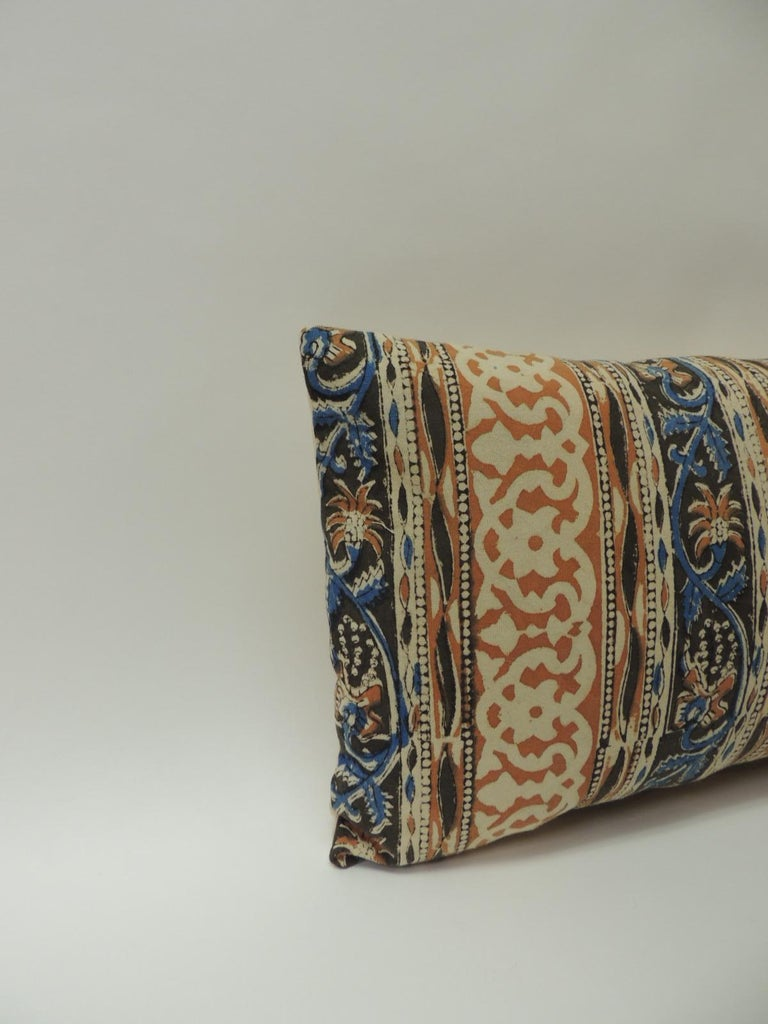 Vintage Indian hand-blocked artisanal textile decorative lumbar pillow Decorative throw pillow handcrafted with a hand-blocked floral vintage cotton artisanal Indian hand-blocked textile panel depicting vertical stripes and finished with a soft