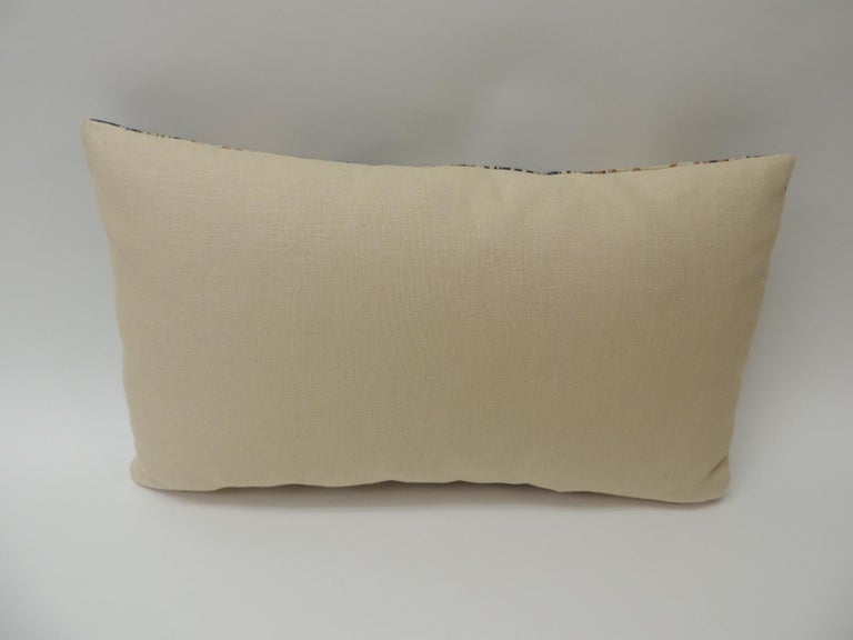 Hand-Crafted Vintage Indian Hand-Blocked Artisanal Textile Decorative Lumbar Pillow For Sale
