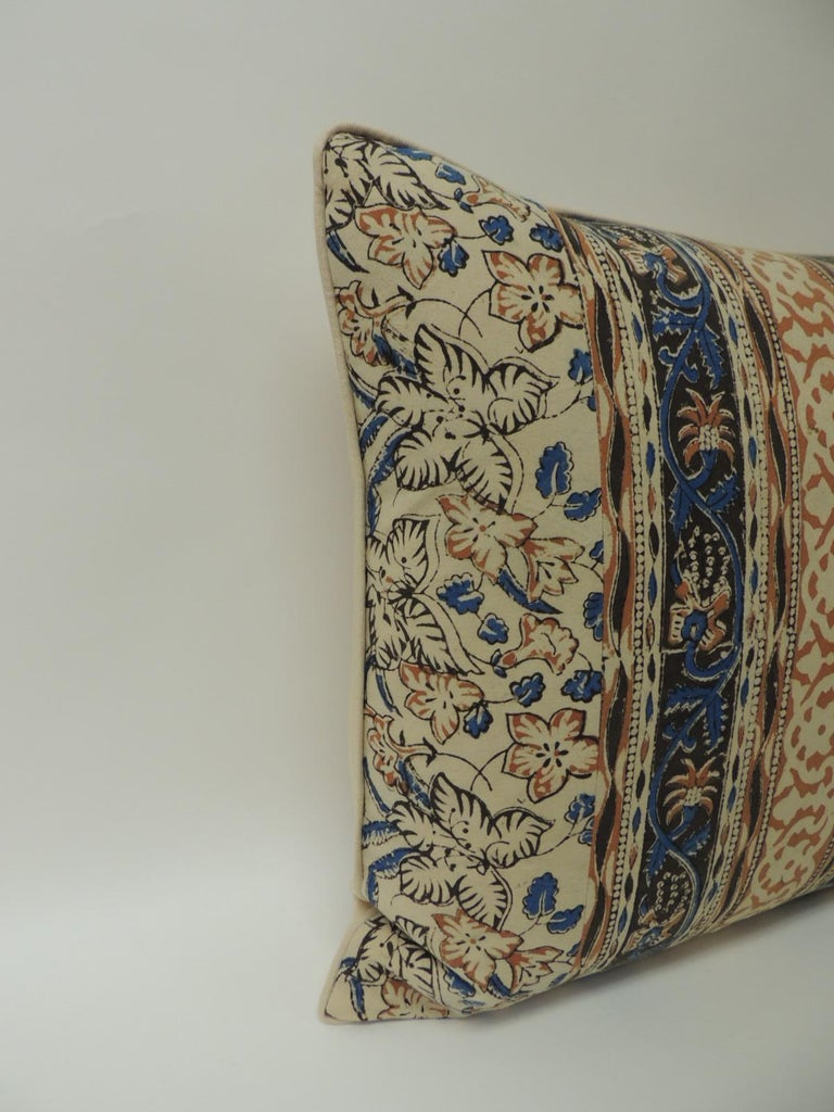 Vintage Indian hand-blocked artisanal textile decorative square pillow. Decorative throw square pillow handcrafted with a hand-blocked floral vintage cotton artisanal Indian hand-blocked textile panel depicting vertical stripes and finished with a