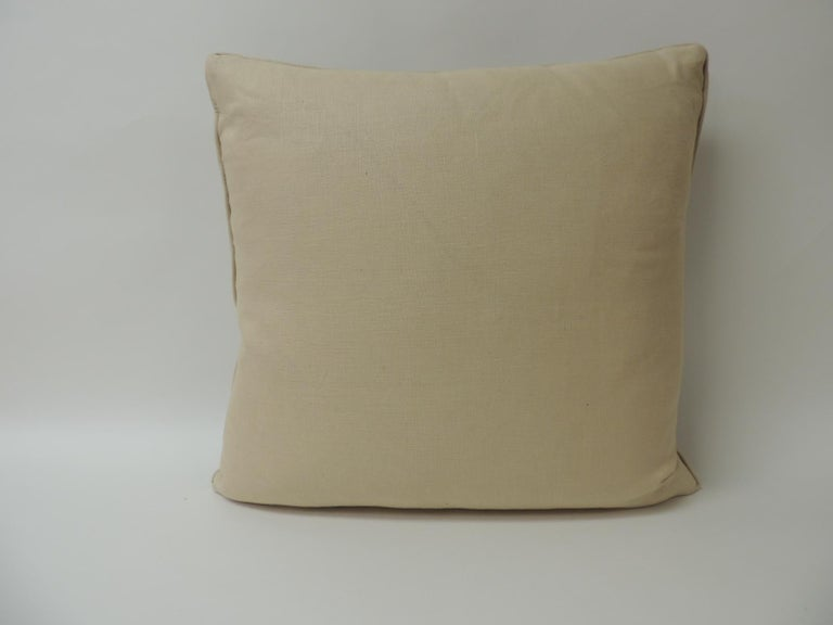 Hand-Crafted Vintage Indian Hand-Blocked Artisanal Textile Decorative Square Pillow For Sale