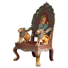 Vintage Indian Hand Carved Oversized Folk Art Throne