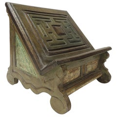 Vintage Indian Hand Painted and Carved Wood Book Stand