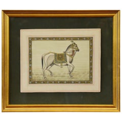 Vintage Indian Hand-Painted Mogul Style Horse Painting on Silk Paper with Frame