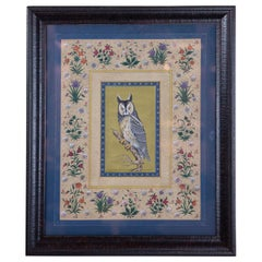 Vintage Indian Hand Painted Owl Surrounded by Flowers, Framed