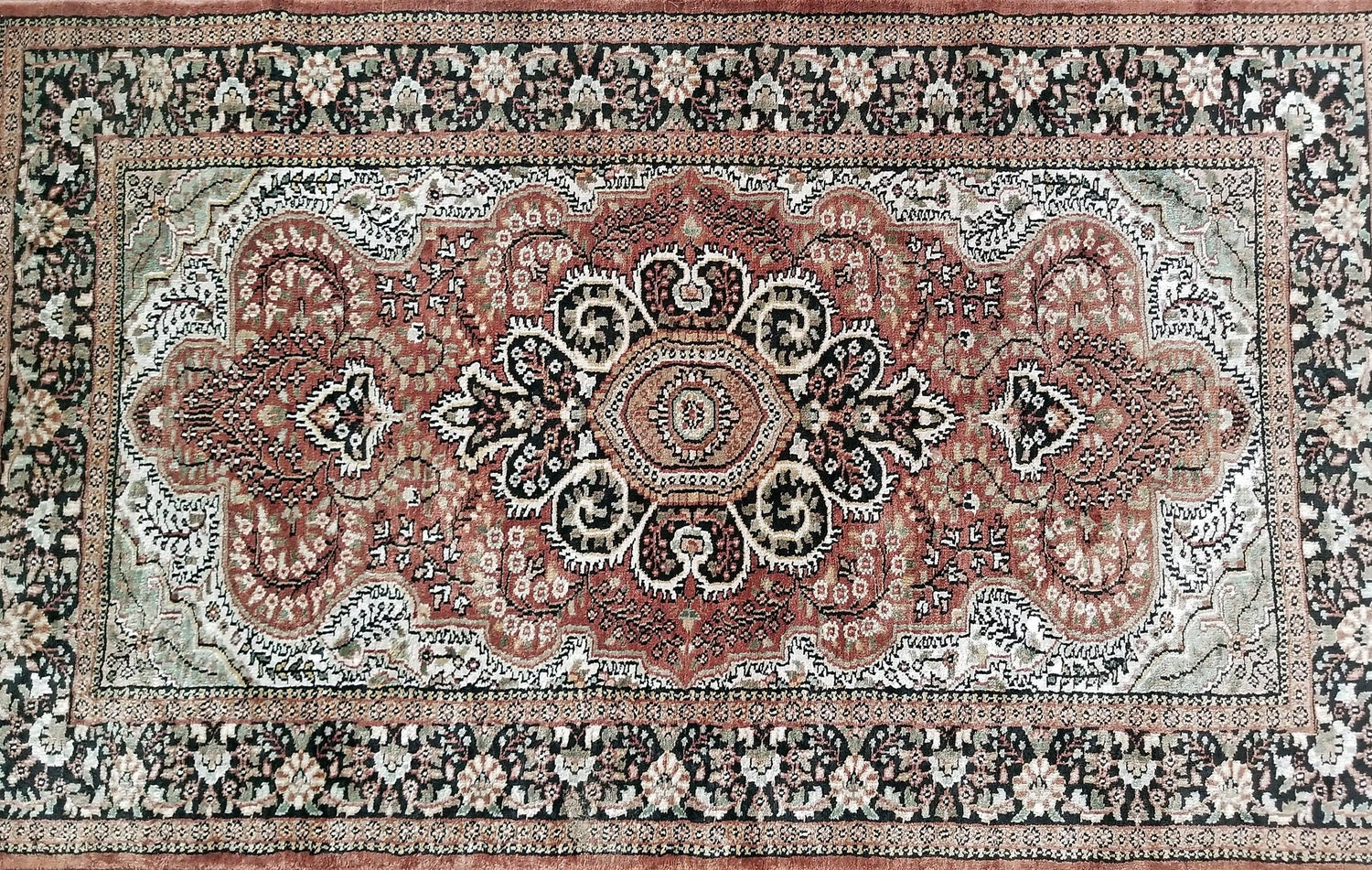 Vintage Indian Kashmir Silk Floor Rug