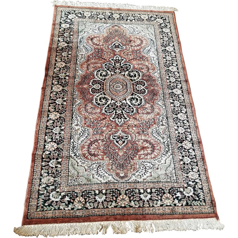 Vintage Indian Kashmir Silk Floor Rug For