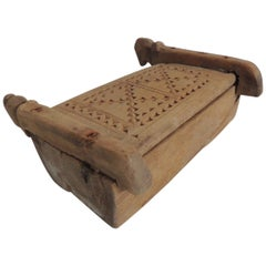 Vintage Indian Market Hand Carved Wooden Box with Lid and Carving Details