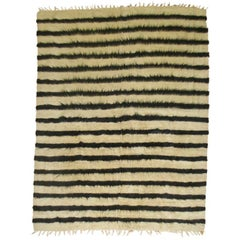 Ivory Black Vintage Indian Mohair Wool Stripe 5 x 7 Rug