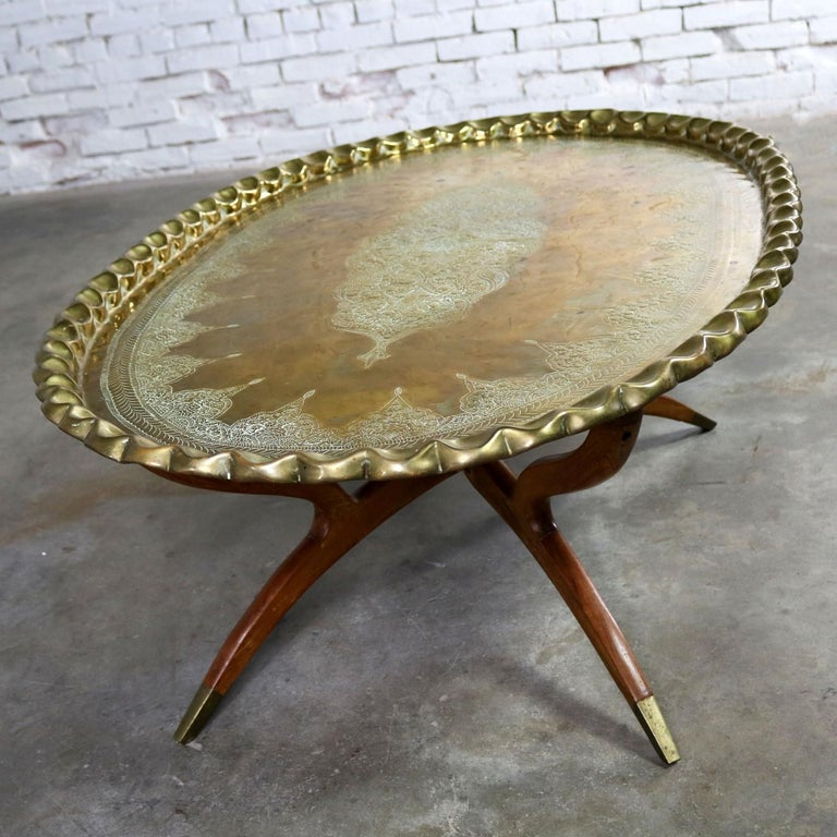 Tray Coffee Table Sale: Vintage Indian Moroccan Style Oval Tray Top Spider 4-Leg