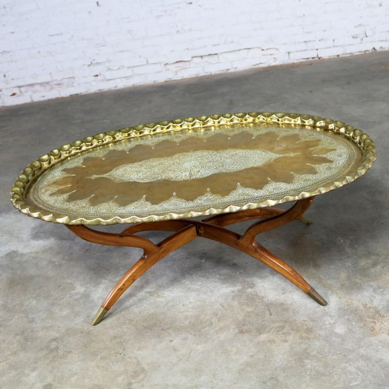 Vintage Indian Moroccan Style Oval Tray Top Spider 4-Leg