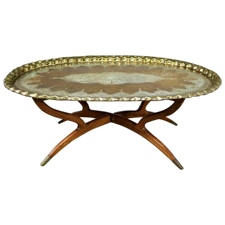 Vintage Indian Moroccan Style Oval Tray Top Spider 4 Leg Coffee Table For