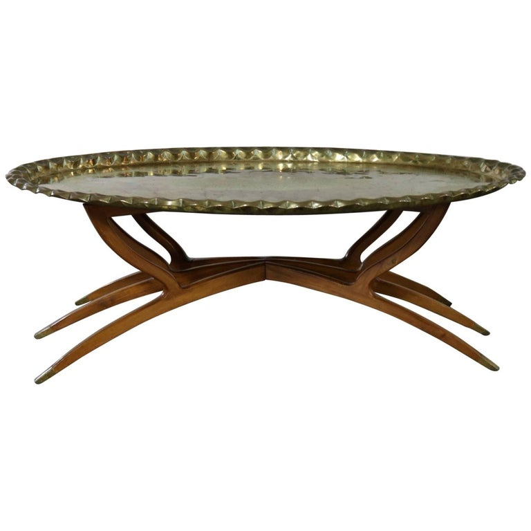 Oval Coffee Table Tray: Vintage Indian Moroccan Style Oval Tray Top Spider Leg