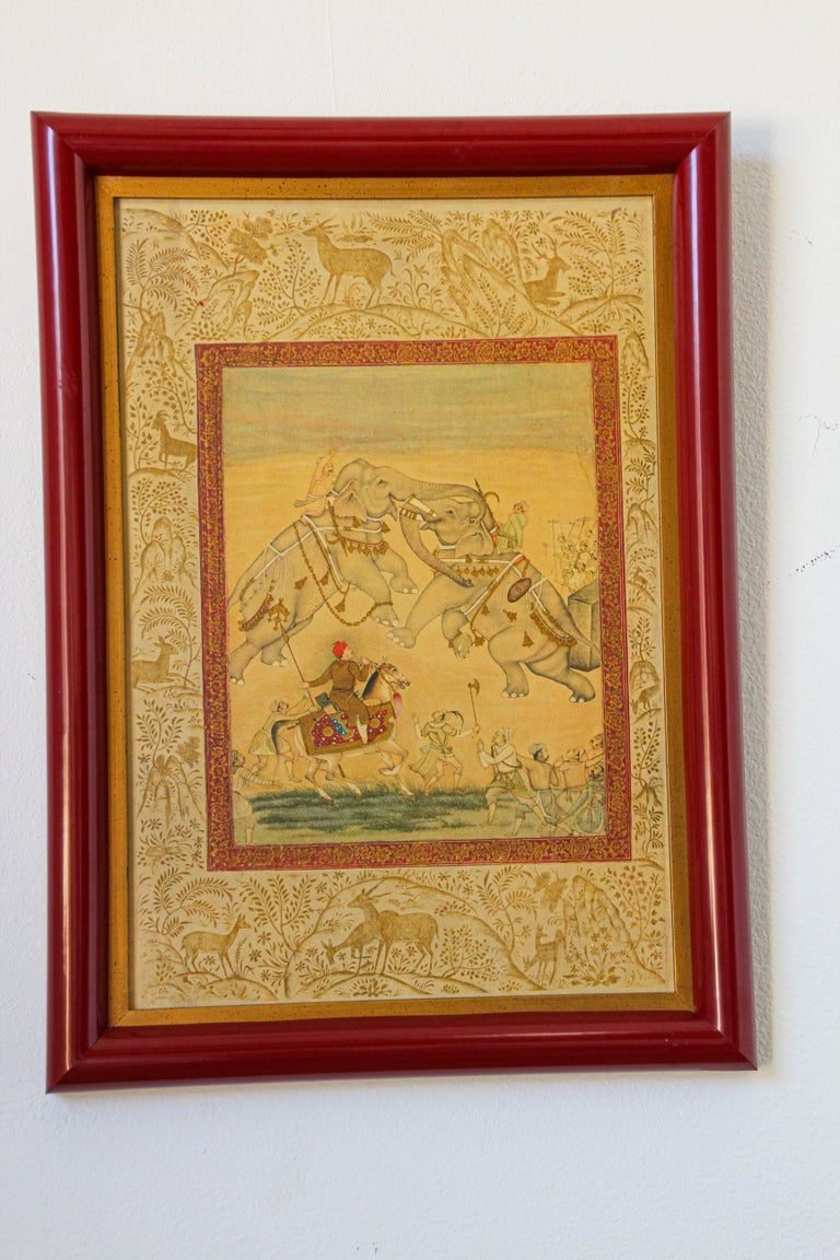 Vintage Indian Mughal Style Miniature Painting of Elephants For Sale 10