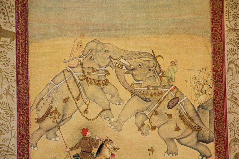 Vintage Indian Mughal Style Miniature Painting of Elephants For Sale 12