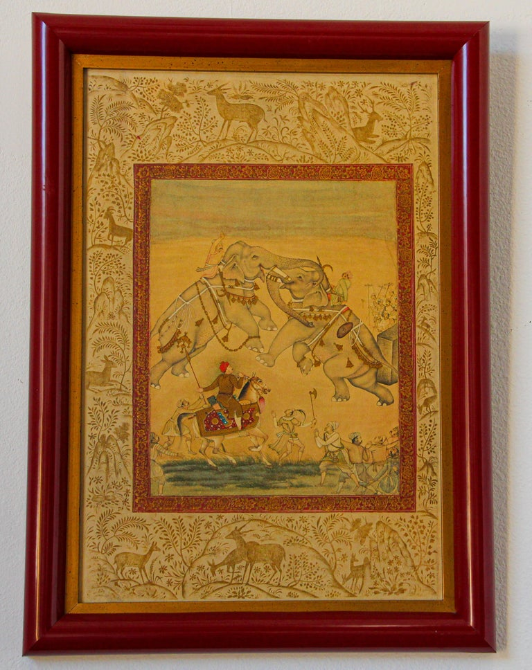 Vintage Indian Mughal Style Miniature Painting of Elephants For Sale 13