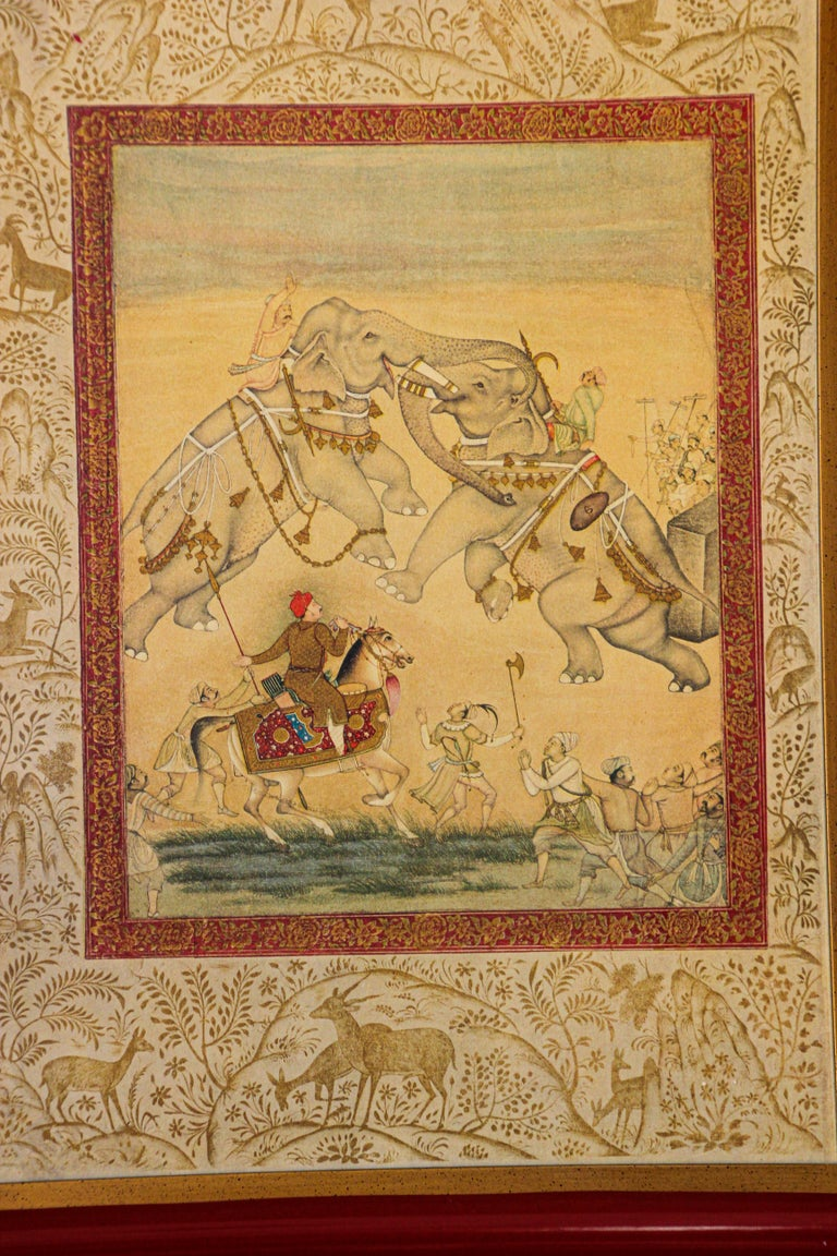 Agra Vintage Indian Mughal Style Miniature Painting of Elephants For Sale