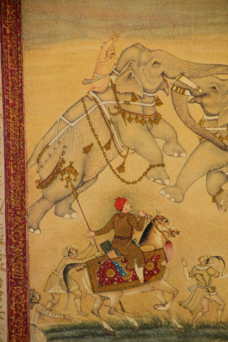 Vintage Indian Mughal Style Miniature Painting of Elephants In Good Condition For Sale In North Hollywood, CA