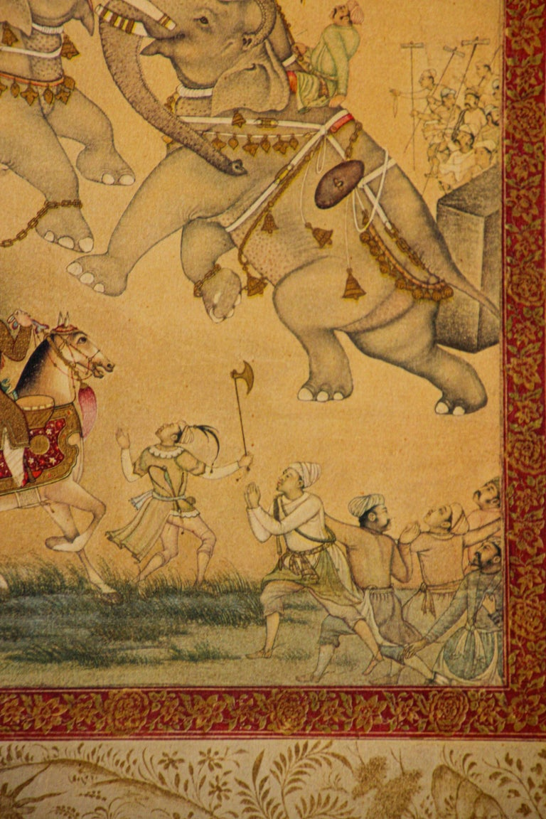 19th Century Vintage Indian Mughal Style Miniature Painting of Elephants For Sale