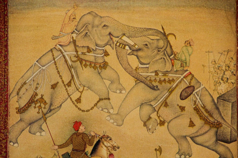 Vintage Indian Mughal Style Miniature Painting of Elephants For Sale 2