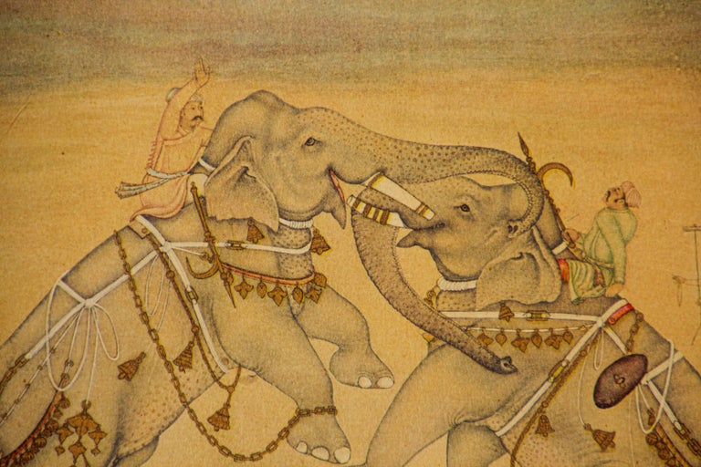 Vintage Indian Mughal Style Miniature Painting of Elephants For Sale 3