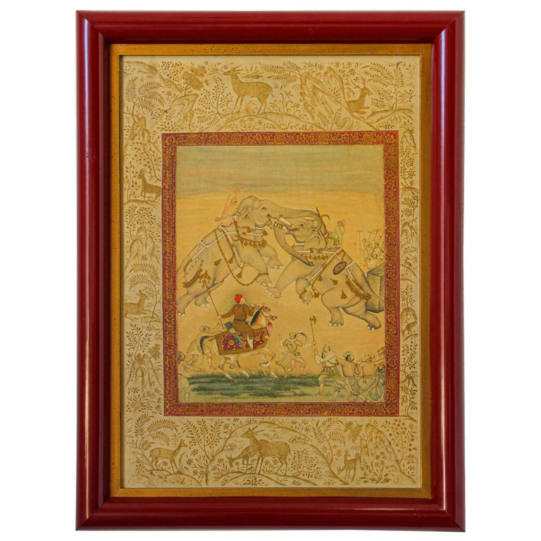 Vintage Indian Mughal Style Miniature Painting of Elephants For Sale