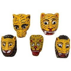 Vintage Indian Painted Tiger Head Masks, 20th Century